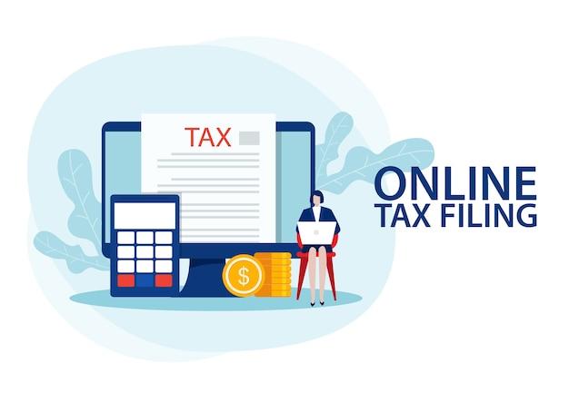 La mujer puso datos para completar el formulario de impuestos y la mujer estaba comprobando. plano
