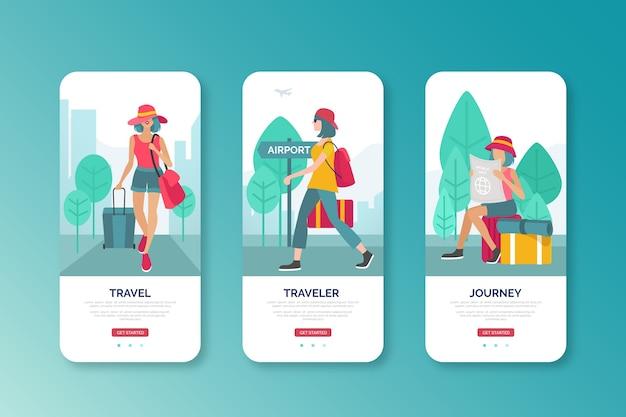 Mujer que va al diseño de interfaz móvil del aeropuerto