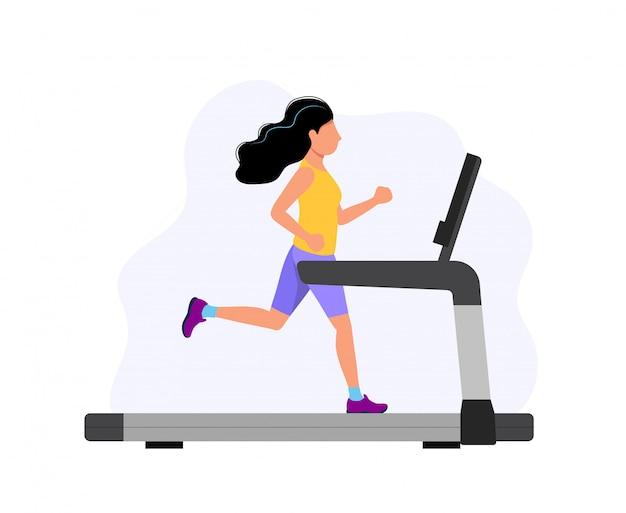 Mujer que corre en la cinta, ilustración del concepto para el deporte, ejercicio, estilo de vida saludable, actividad cardiovascular.