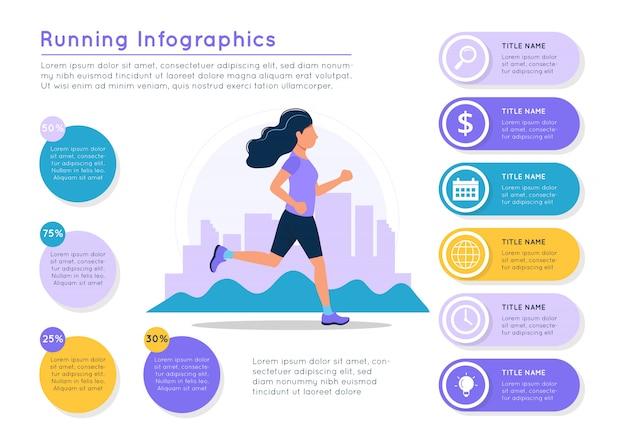 Mujer que corre con el paisaje de la ciudad, elementos coloridos de diferentes datos.