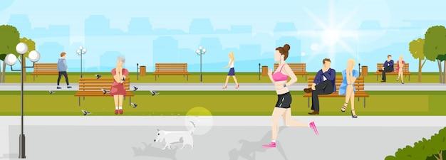 Mujer que corre en el parque
