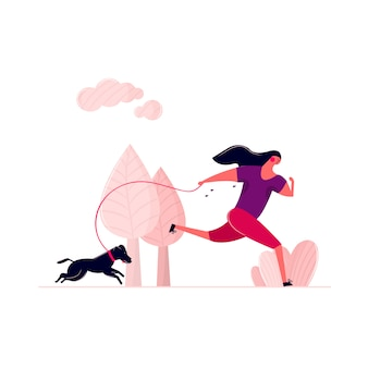 Mujer que corre con el perro en la calle en el parque al aire libre. mujer sudorosa que camina con el perrito en el correo por mañana. entrenamiento de la mujer que activa al aire libre con la salud de la mascota del animal doméstico que corre