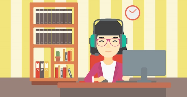 Mujer que juega el ejemplo del vector del juego de ordenador.