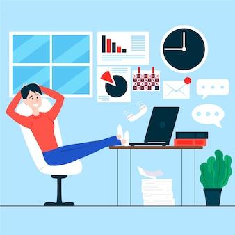 Mujer que se queda con las piernas en el escritorio pospuso el concepto