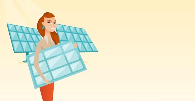 Mujer que sostiene el ejemplo del vector del panel solar.