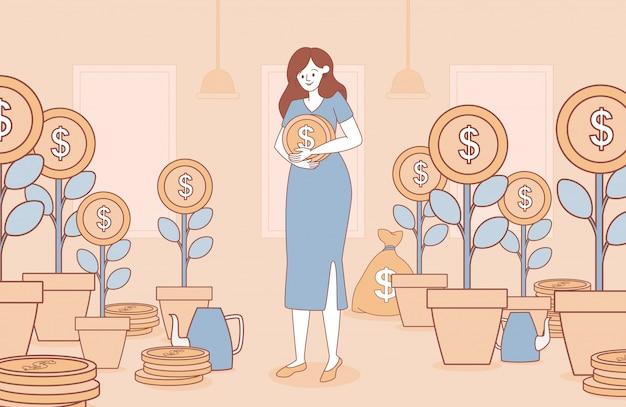 Mujer que sostiene la ilustración del esquema de la historieta de la moneda de oro. concepto de negocio para la inversión.