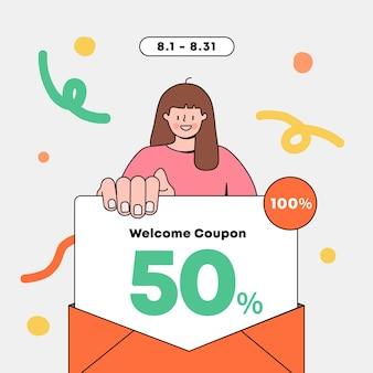 La mujer que sostiene la ilustración de vector de evento de compras de evento de cupón de carta