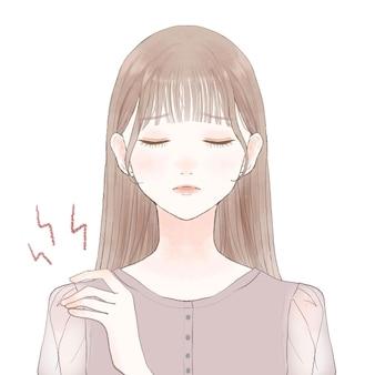 Una mujer que sufre de rigidez en los hombros. sobre un fondo blanco. estilo de arte lindo y simple.