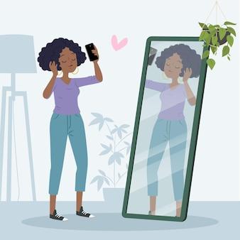 Mujer que tiene alta autoestima