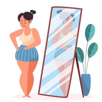 Mujer que tiene baja autoestima ilustrada