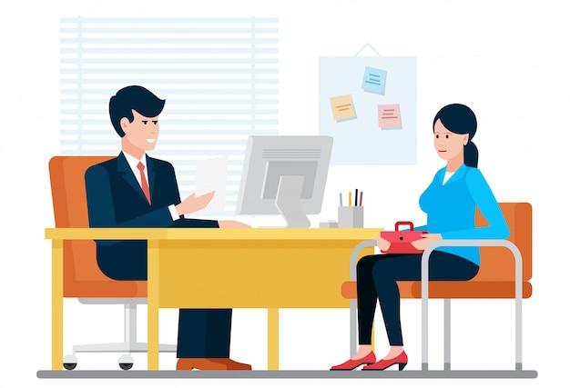 Mujer que tiene una entrevista de trabajo de reclutamiento con el empresario hr mientras está sentado cerca del escritorio en la ilustración de la oficina