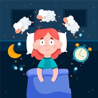 Mujer que tiene problemas para dormir ilustrada
