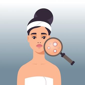 Mujer que tiene problemas de piel facial niña usando lupa para encontrar el acné en la ilustración de vector de retrato de área de la cara