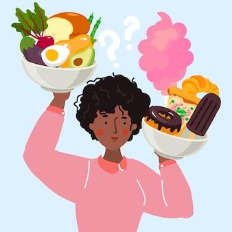 Mujer que tiene que elegir entre alimentos saludables y no saludables