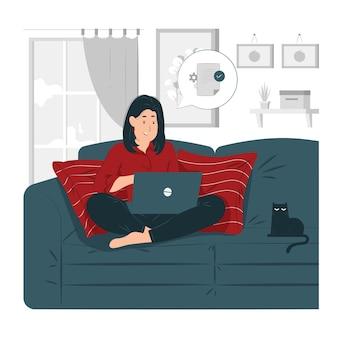 Mujer que trabaja en casa sentada en el sofá ilustración