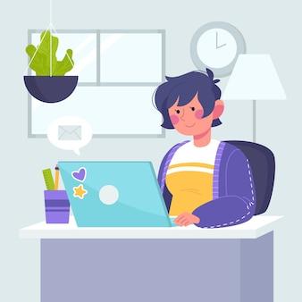 Mujer que trabaja en casa