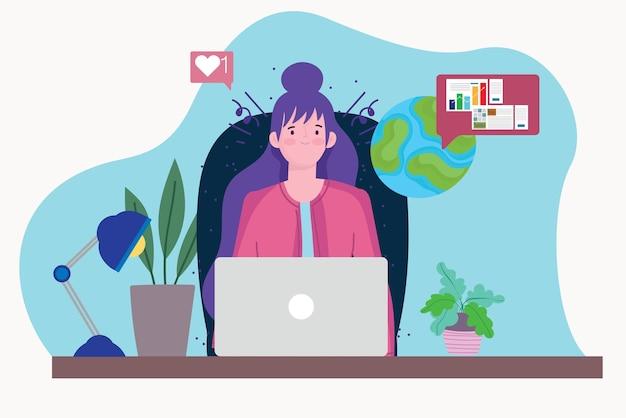 Mujer que trabaja con la computadora portátil haciendo análisis estadístico, personas que trabajan ilustración