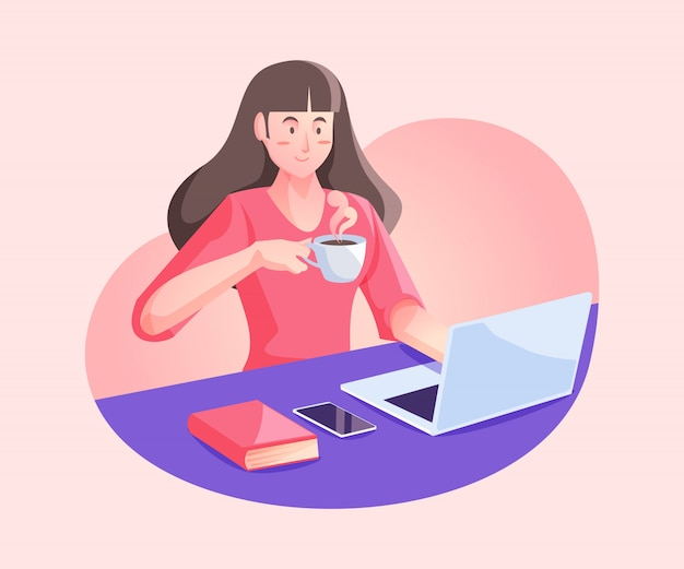 Mujer que trabaja desde el concepto de hogar