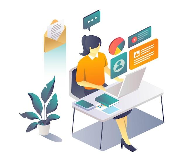 Mujer que trabaja en el escritorio con ordenador portátil y burbuja de datos