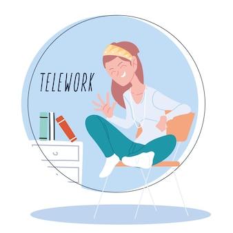 Mujer que trabaja de forma remota desde su casa, ilustración de teletrabajo