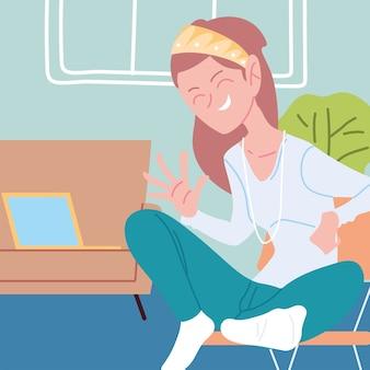 Mujer que trabaja de forma remota desde su casa ilustración