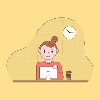 Mujer que trabaja en la ilustración de la computadora