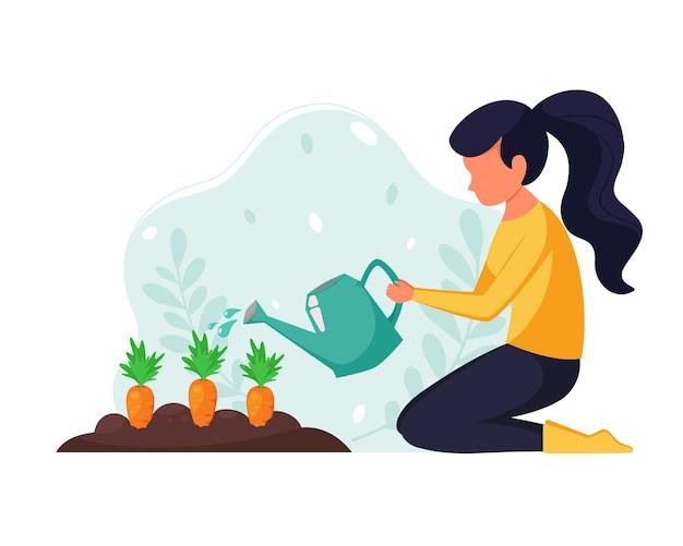 Mujer que trabaja en el jardín. mujer regando verduras. concepto de jardinería doméstica. en estilo plano.