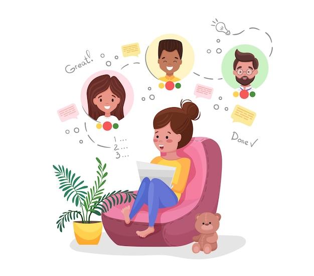 Mujer que trabaja en la oficina en casa. lindo personaje sentado en un puf en la habitación, videoconferencia en línea