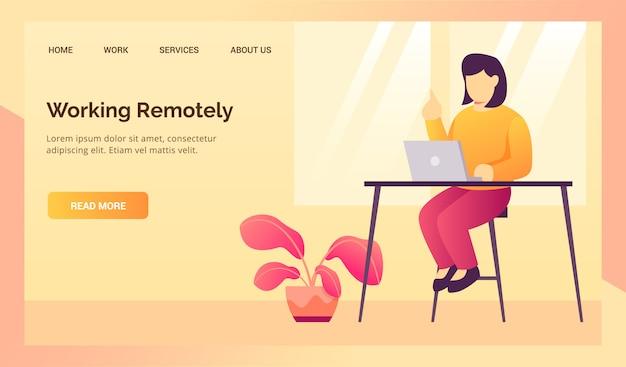 Mujer que trabaja remotamente desde su hogar durante el trabajo desde su hogar para el banner de plantilla de página de inicio del sitio web