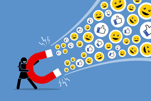 A la mujer que usa un gran imán para atraer a las redes sociales le gusta el pulgar hacia arriba y sonríe.
