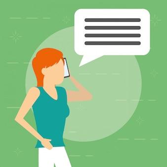 Mujer que usa el móvil con globo de diálogo, estilo plano