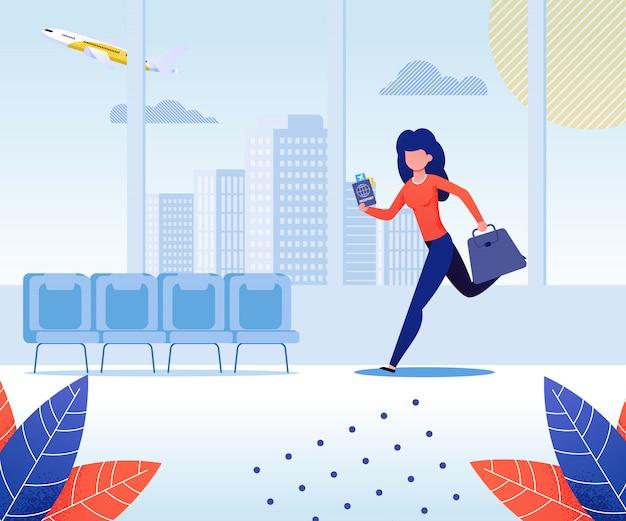 Mujer que viaja en avión que sostiene el bolso y el pasaporte con el ejemplo plano del vector de la historieta del boleto. chica en la terminal del aeropuerto. personaje corriendo o apresurándose para el vuelo. llegar tarde al embarque.