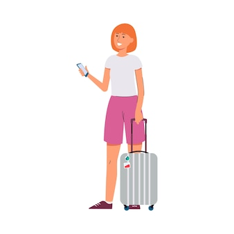 Mujer que viaja con maleta y ilustración de personaje de dibujos animados de teléfono inteligente sobre fondo blanco. vacaciones de verano, viajes y turismo.