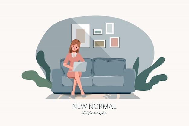 Mujer quedarse en casa. trabajar desde casa. nuevo estilo de vida normal con trabajo.
