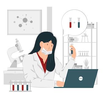 Mujer, químico, en el trabajo, ilustración