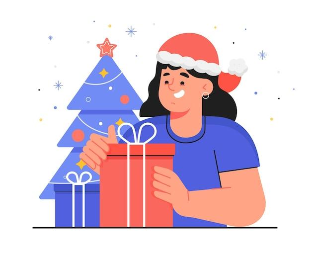 Mujer recibiendo un regalo de navidad