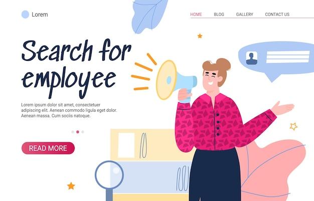 Mujer de recursos humanos de banner de sitio web de búsqueda de empleados con altavoz