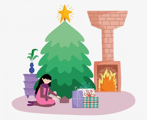 Mujer con regalos de chimenea de árbol feliz navidad, feliz año nuevo