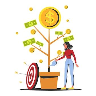 Mujer regando el árbol del dinero que crece en una maceta