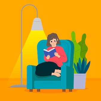 Una mujer relajante en casa