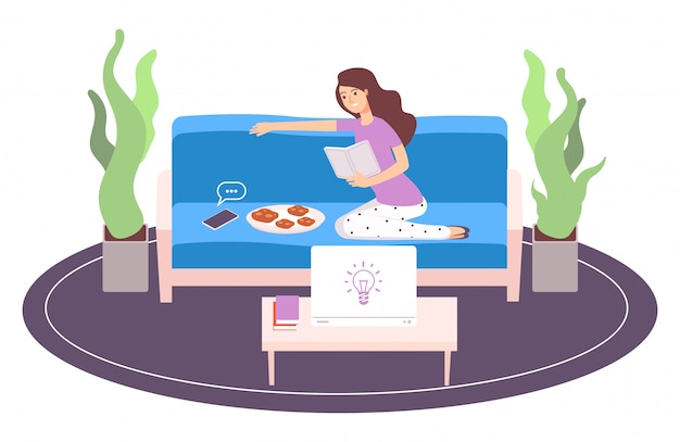 Mujer relajante. libro de lectura de niña. ilustración de vector de procrastinación