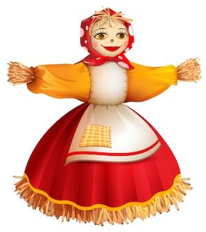 Mujer rellena de paja para vacaciones rusas maslenitsa shrovetide semana de panqueques