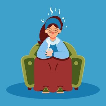 Mujer con resfriado en cuarentena en casa