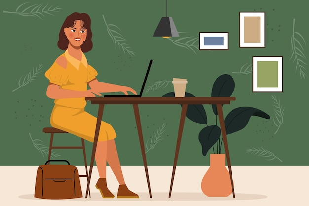 Mujer de retrato de personaje de animación trabajando con ordenador portátil en el escritorio. diseño plano.