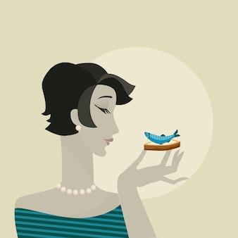 Mujer con retrato de snack de mariscos. cartel de fiesta