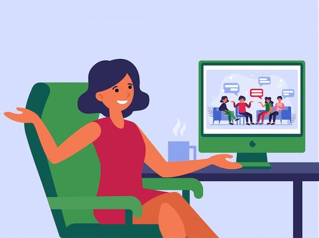 Mujer reunida con amigos en línea