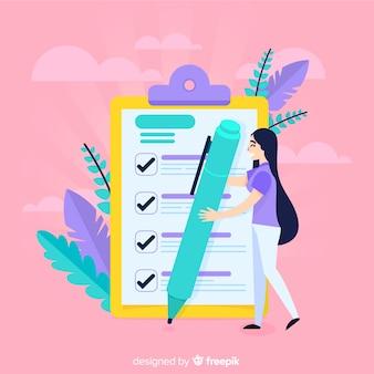 Mujer revisando una lista de tareas gigante