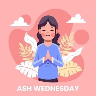 Mujer rezando en la ilustración del miércoles de ceniza
