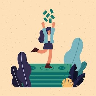 Mujer rica con escena de dinero de dólares