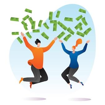 Mujer rica, hombre juntos tira dinero y saltando, persona rica salpica dibujos animados.